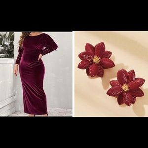 NEW😍 VELVET DRESS WITH SLIT❤️FREE GIFT INCLUDED